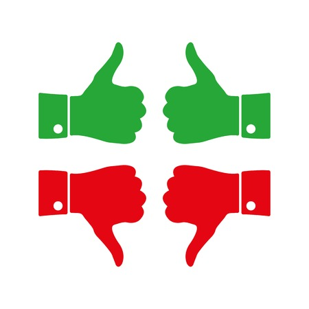 yes or no: Colored icons thumbs up and down on a white background, vector illustration