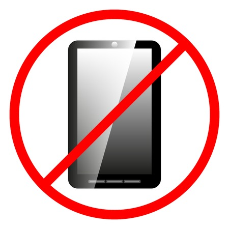 prohibiting: Icon prohibiting the use of a mobile phone, vector illustration.