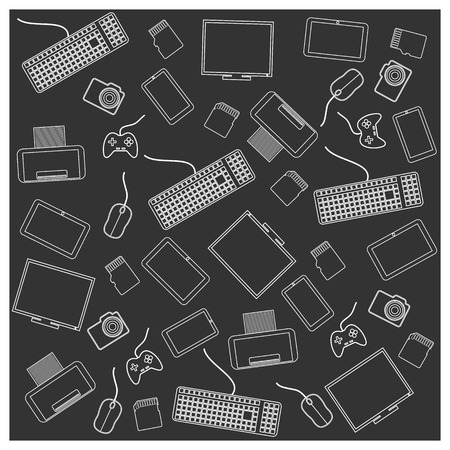 Seamless background texture with a personal computer accessories, vector illustration. Vector