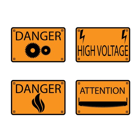 warning saw: Set of four flat rectangular icons warning of the danger, vector illustration.