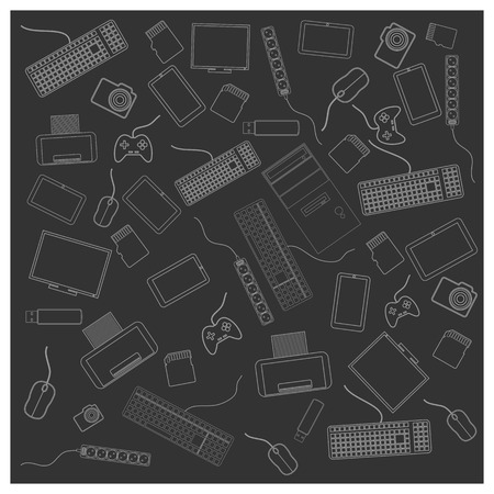 Seamless background texture with a PC accessories, vector illustration. Vector