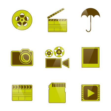 filming: Set of flat isolated on white background icons video and photo filming, vector illustration. Illustration