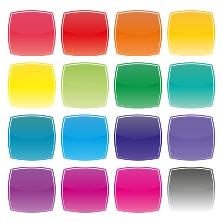 convex: Set of multi-colored square buttons with convex sides, vector illustration.