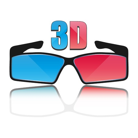 anaglyph: Color flat icon 3D glasses with mirror images, vector illustration Illustration