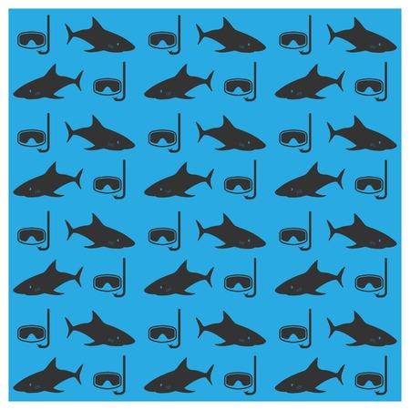 background image: Imagen de fondo sin fisuras de los tiburones y las m�scaras subacu�ticas, ilustraci�n vectorial.