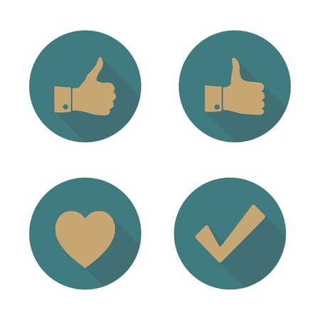 displeased: Set of four icons. Flat style and the long shadow, thumbs up, check, heart, vector illustration. Illustration