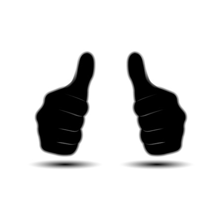 two thumbs up: Icon thumbs up, two hands isolated on white background with shadow Illustration