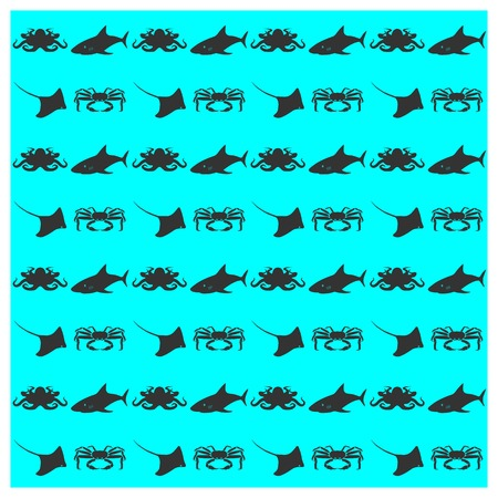 inhabitants: Seamless background texture of sea inhabitants, vector illustration