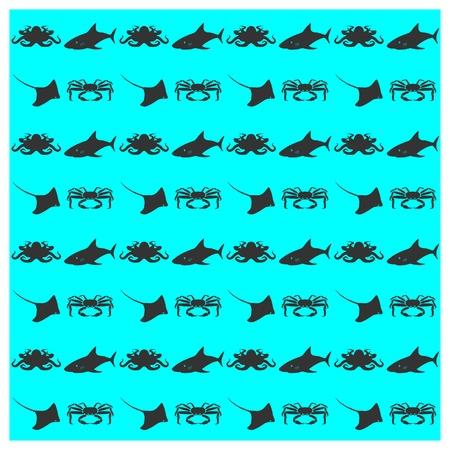 inhabitants: Seamless background texture of sea inhabitants, vector illustration