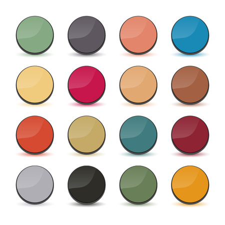 volumetric: Set of multicolored buttons, round shape and volumetric style, vector illustration