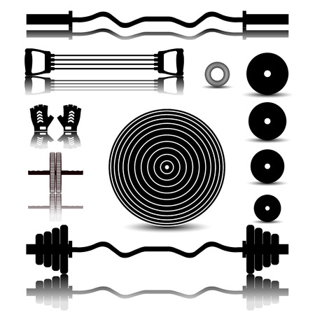 fingerboard: Set of icons with a mirror image of sports equipment for the gym, vector illustration. Illustration