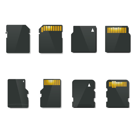 Stylish memory card, front and back sides, vector Vector