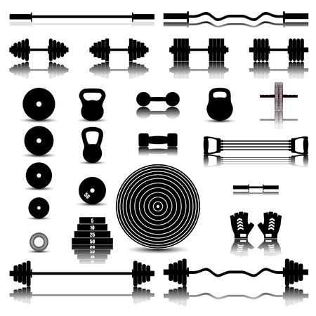 aparatos electricos: Conjunto de iconos de una imagen especular de equipamiento deportivo para el gimnasio, ilustración vectorial con. Vectores