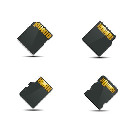 memory card: Set memory card, back side with shadow, vector illustration. Illustration