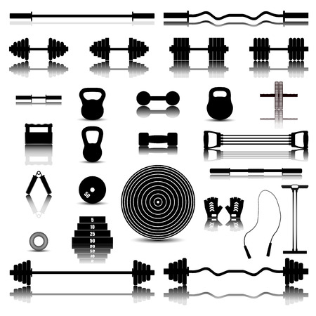 Set of silhouettes of a mirror image of sports equipment for the gym, vector illustration