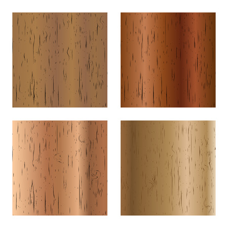 Set of four different colors and patterns on wooden texture, vector illustration