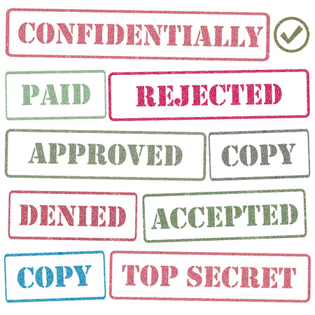 limited access: Set realistic stamps for various documents, vector illustration.