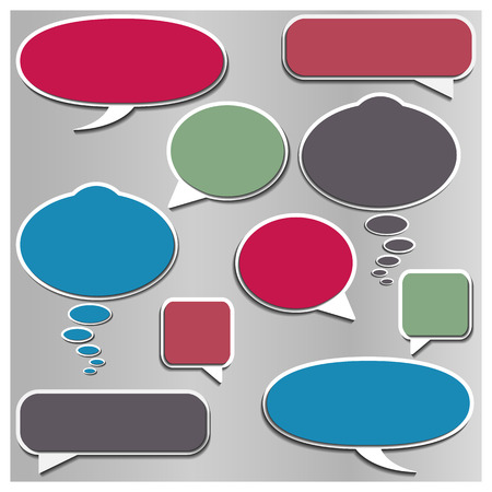 comments: Set of multicolored framework for comments and chat volumetric style, a variety of shapes, vector illustration. Illustration