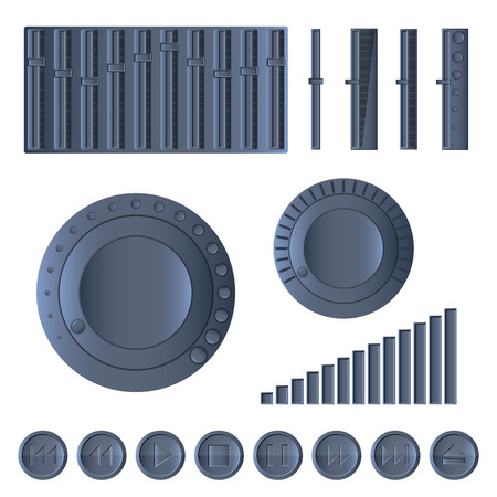 A set of multimedia control buttons, sliders, volume controls, vector illustration. Vector