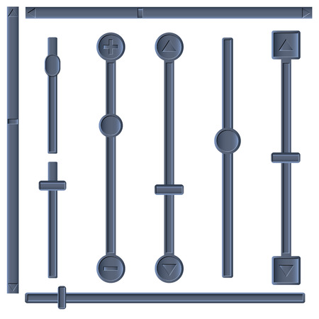 zoom: Set of different sliders and scroll bars, vector illustration.