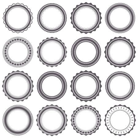 Set round gray emblem with retro style, vector illustration. Stock Illustratie