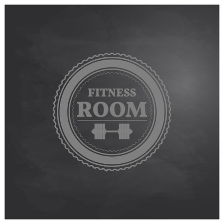 fingerboard: Emblem fitness room in retro style on background drawing board chalk vector illustration.