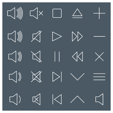 volume control: Set of linear volume control icons and buttons, vector illustration.