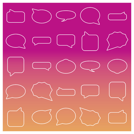 comments: Set of frames for the chat and comments from the thin lines, vector illustration.