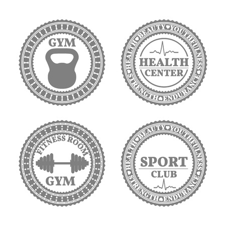 fingerboard: Set of four sports emblems, labels, logos and design elements in retro style part of fifth, vector illustration