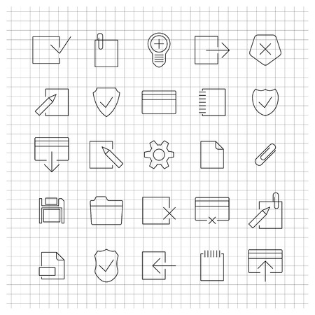 universal icons: A set of universal icons for the web of thin lines, vector illustration