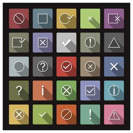 guideline: Set of icons with long shadow, flat style , symbols help, information, check, delete, attention illustration Illustration