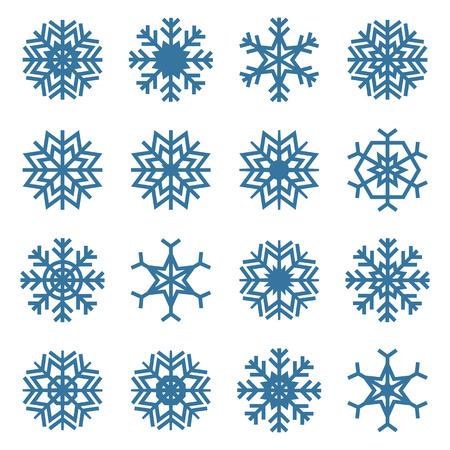 precipitation: Set of sixteen snowflakes isolated on a white background Illustration