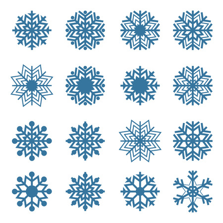 Set of sixteen snowflakes isolated on a white background Иллюстрация