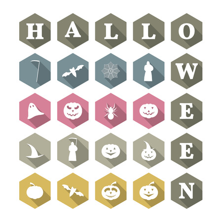death cap: Icons with a long diagonal shadow Halloween, vector illustration.