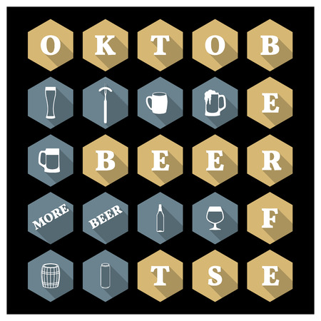 bbq barrel: Icons in the shape of a hexagon with long shadow Oktoberfest, vector illustration.