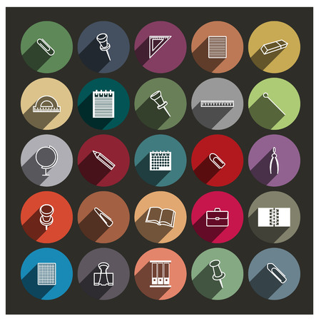 chancellery: Set of twenty five icons Chancellery with a long diagonal shadow, vector illustration.
