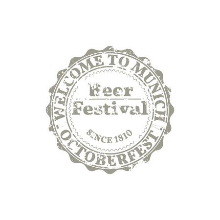 brewery  hops: Grunge Emblem Beer Festival Oktoberfest, part three, vector illustration.