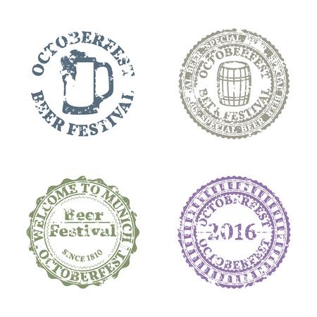 rough: Set of four grunge emblems Oktoberfest, vector illustration.