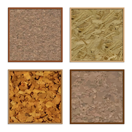 chipboard: Set of four different cork boards, vector illustration.