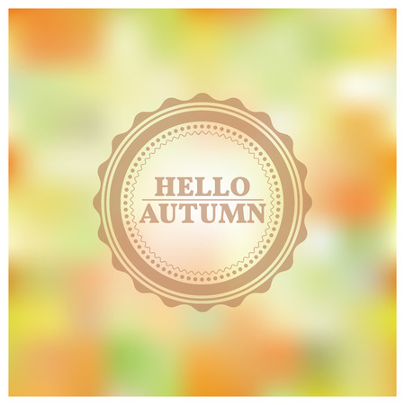 yellowed: Blurred background of autumn with the text hello autumn, vector illustration. Illustration