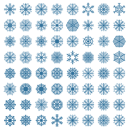 background part: A set of sixty-four snowflakes isolated on a white background, part one, vector illustration.