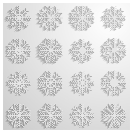 background part: Set of sixteen white snowflakes with shadow on a white background, part one, vector illustration.