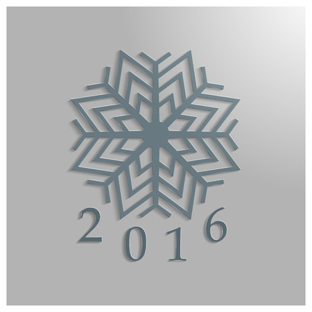 two thousand: Background to the new two thousand sixteenth year with snowflake, vector illustration.