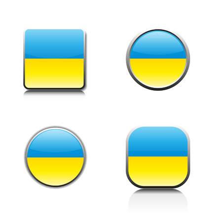glass buttons: Glass buttons with the national flag of Ukraine, vector illustration.