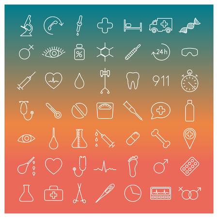 eye pipette: Set of forty-nine medical icons of thin lines, vector illustration.