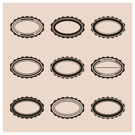 oval shape: Set elliptical emblem in retro style, vector illustration.