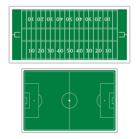 soccer field stadium: A set of fields with the markings for the game of American football and soccer, vector illustration. Illustration