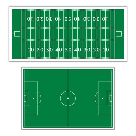 terrain foot: Un ensemble de champs avec les marques pour le jeu de football am�ricain et le football, illustration vectorielle.