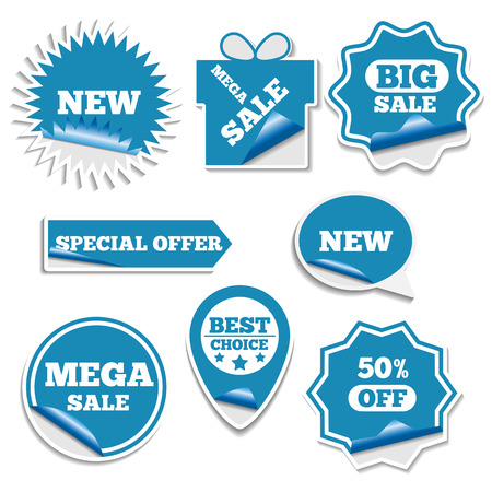 first form: Set of bright labels sale in the form of stickers first part, vector illustration. Illustration