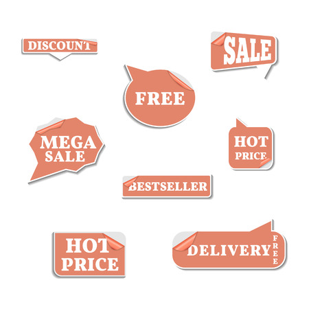 sixth form: Set of bright labels sale in the form of stickers part sixth, vector illustration. Illustration